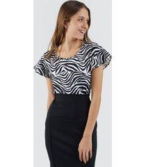 camiseta para mujer estampada color negro, talla l