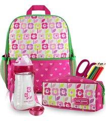 conjunto mochila menina jacki design pequeninos floral pink