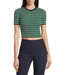 michael kors women's striped crop sweater - midnight - size l