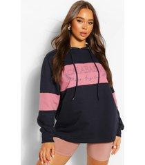 oversized colourblock hoodie met tekst, indigo