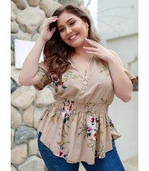 blusa caqui con cuello en v con estampado floral aleatorio de talla grande