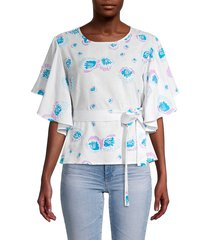all things mochi women's embellished printed top - grey blue - size s
