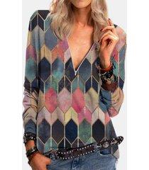 camicetta da donna con zip frontale con scollo a v manica lunga stampata geometrica