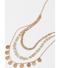 maurices womens gold green beaded drape necklace