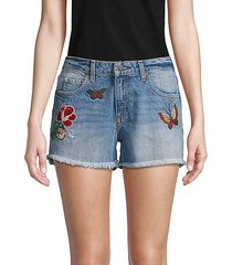 butterfly embroidered denim shorts