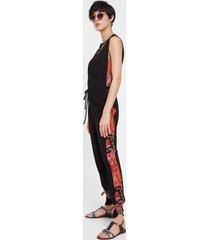 black and floral jumpsuit - black - xl