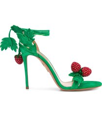 aquazzura ankle tie strawberry sandals - green