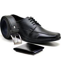 kit sapato sandro & co. derby tradicionally + carteira gr01 + cinto 601 masculino - masculino