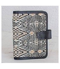 leather accent cotton passport wallet, 'guatemalan kaleidoscope' (guatemala)