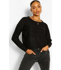 basic trui met lage ronde hals, zwart