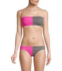 two-tone bandeau bikini top