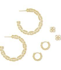 kendra scott 14k gold-plated 3-pc. set filigree hoop & stud earrings