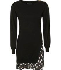 moschino asymmetric polka dot dress