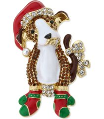 holiday lane gold-tone mitten & santa hat puppy pin, created for macy's