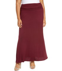 plus size women's loveappella fold over maxi skirt, size 3x - red