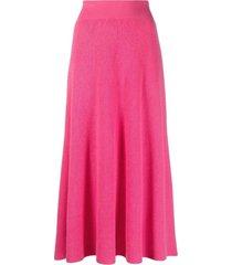 ami amalia ribbed-knit merino wool a-line skirt - pink