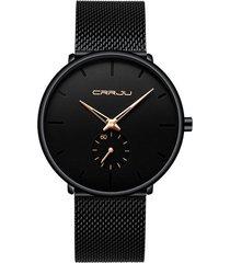 reloj hombre lujo delgado malla acero crrju 2150 negro rosa