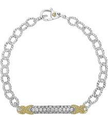 women's lagos caviar lux diamond pave link bracelet