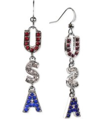 holiday lane silver-tone red, white & blue pave usa drop earrings, created for macy's
