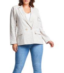 plus size women's estelle sterling linen blend blazer, size 4x - beige