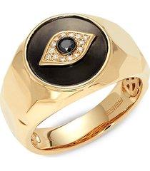effy men's 14k yellow gold & black & white diamond evil eye ring - size 10
