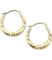 10k gold small polished pinched hoop earrings