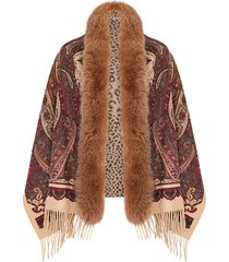 flora fox fur trim wool & cashmere shawl