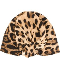 dolce & gabbana leopard print turban - brown