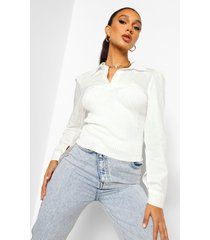 2-in-1 blouse met gebreide bandeau top, ivory
