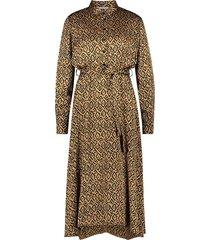print jurk met ceintuur millie  bruin