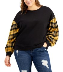 full circle trends trendy plus size balloon-sleeve pullover