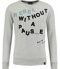 kultivate 1701031050 153 sweater non stop light grey melange grijs