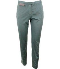 fabiana filippi deruta stretch cotton trousers with monili over the pocket