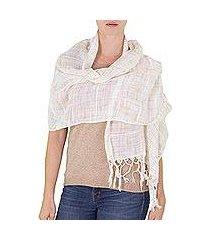 cotton shawl, 'beige embrace' (nicaragua)