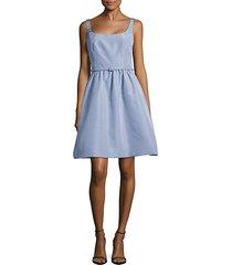 belted silk a-line dress