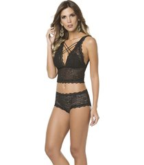 conjunto lingerie renda preta top cropped de tiras