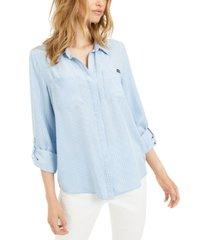 calvin klein jeans split-back chambray shirt