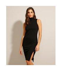 vestido canelado com fenda curto sem manga preto