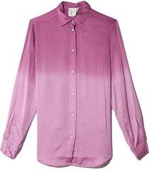 deep dyed satin shirt in magenta
