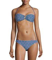 geometric-print bikini top