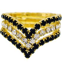 anel horus import preto e cristal triplo banhado ouro amarelo 18 k - 1010101