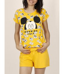 pyjama's / nachthemden admas mickey eyes disney gele t-shirt pyjamabroek adma's
