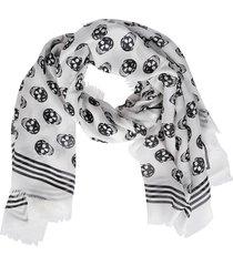 alexander mcqueen white and black modal biker scarf