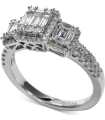 effy bridal diamond baguette cluster engagement ring (3/4 ct. t.w.) in 14k white gold