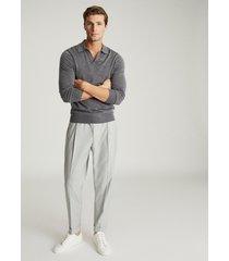 reiss milburn - merino wool open collar polo shirt in grey, mens, size xxl