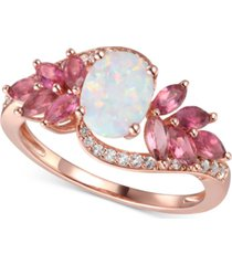 multi-gemstone (1-5/8 ct. t.w.) & diamond (1/6 ct. t.w.) statement ring in 14k rose gold