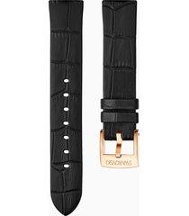 cinturino per orologio 18mm, nero, placcato color oro rosa