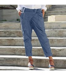 zanzea mujeres pantalones casual cinturón de lazo bolsillos llenos de longitud más señoras del tamaño pantalones -azul