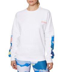 betsey johnson women's crewneck cotton-blend fleece sweatshirt - white - size m