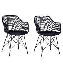conjunto com 2 cadeiras de jantar rose eiffel preto